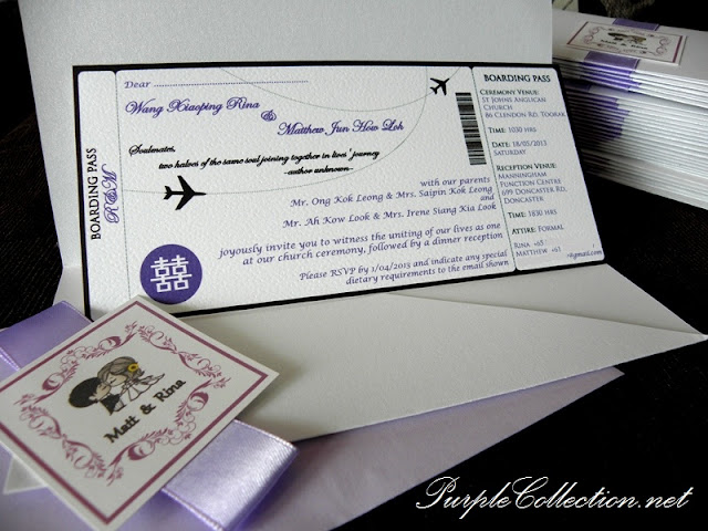 Wedding Boarding Pass Card Aeroplane Theme, Wedding, Wedding Boarding Pass, Boarding Pass, Boarding Pass Card, Card, Aeroplane, Purple, Boarding Pass, Boarding Pass Pocket, Double Hapiness