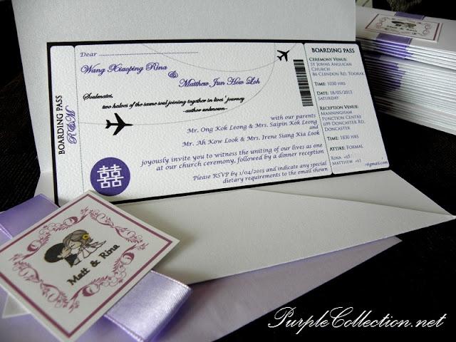 Wedding Boarding Pass Card Aeroplane Theme, Wedding, Wedding Boarding Pass, Boarding Pass, Boarding Pass Card, Card, Aeroplane, Purple, Boarding Pass, Boarding Pass Pocket, Double Hapiness