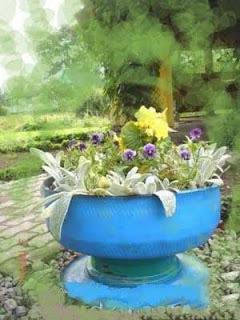 Pot Bunga unik dari Ban bekas