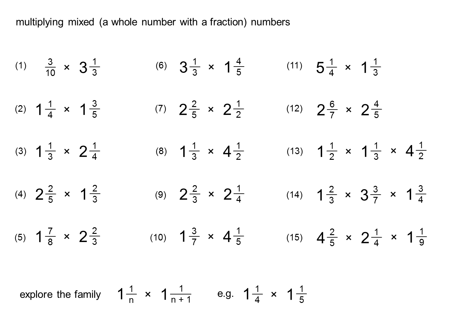 Multiplying Mixed Fractions Worksheets – Multiplying Improper Fractions Worksheet