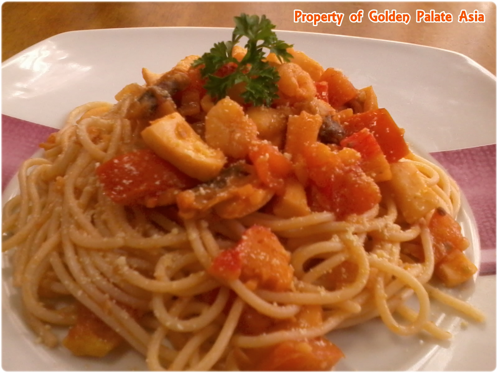 Golden Palate Asia: Tomato-based Seafood Pasta