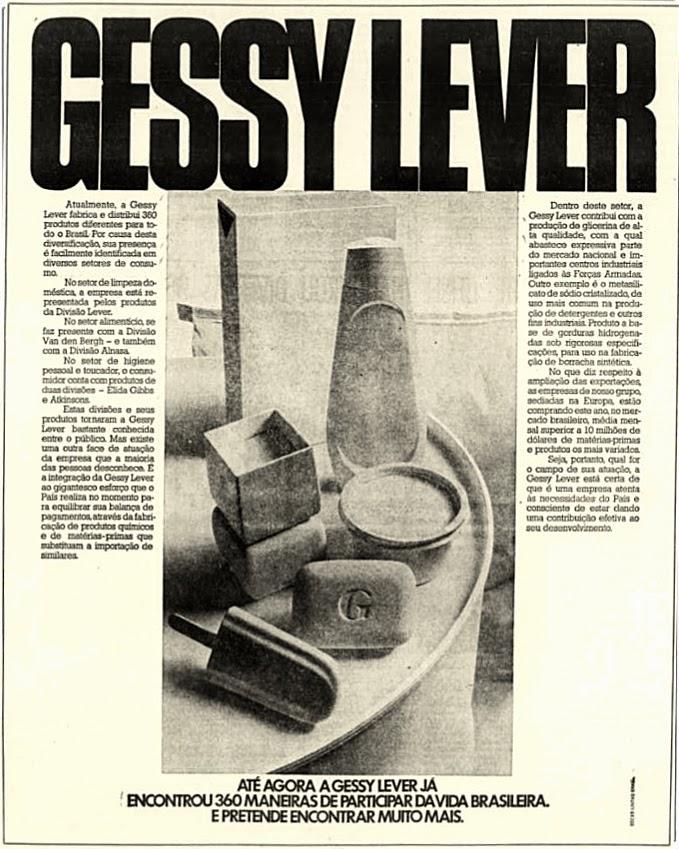 gessy lever.  anos 70.  década de 70. os anos 70; propaganda na década de 70; Brazil in the 70s, história anos 70; Oswaldo Hernandez;
