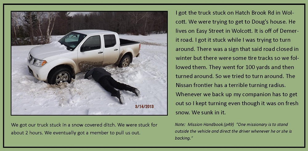 March 14, 2013 - Truck stuck in a ditch