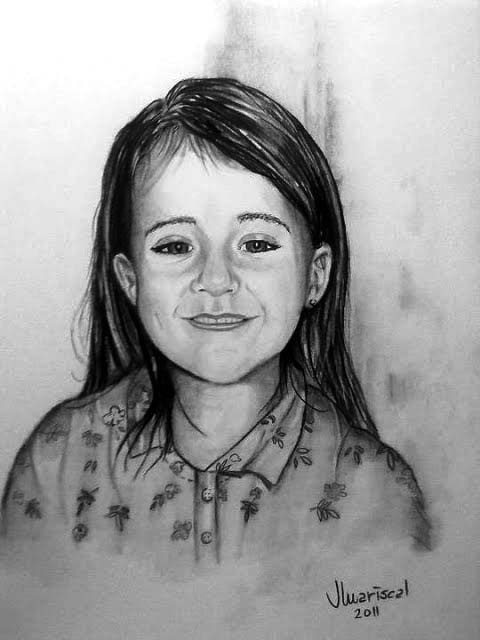 Pintor Juan Mariscal. Retrato de niña 1. Carboncillo sobre cartulina. 40 x 32 cms.