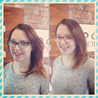 Bethan with her bespoke frames, before and after.