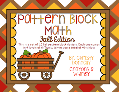 Pattern Block Math Fall Edition Crayons and Whimsy