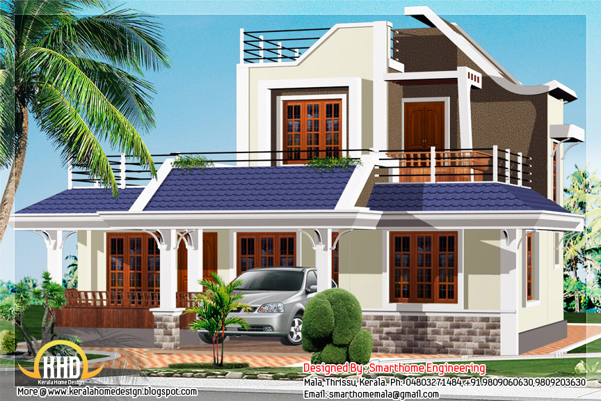 Kerala style house elevation - 1600 sq.ft.