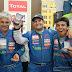 Francisco Casale y su tripulación en el podio del Dakar en Lima