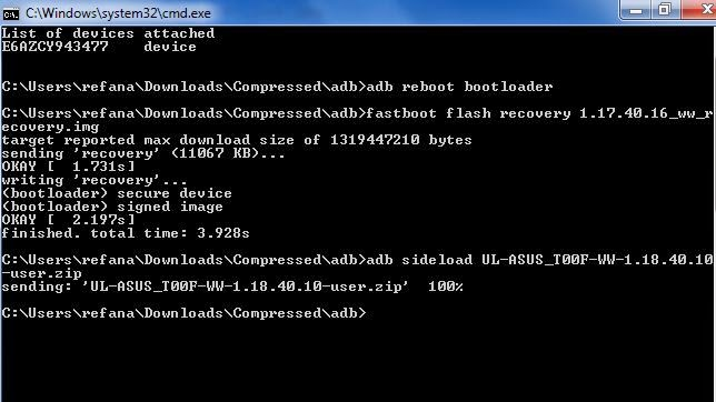 Flash via ADB Fast Boot Zenfone 5