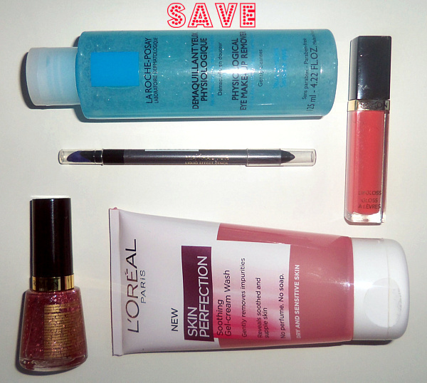 From bottom left: Revlon Nail Enamel in 261 Sparking, Max Factor Liquid Effect Pencil in Silver Spark, La Roche Posay Eye Make-Up Remover, Revlon Lipgloss in 170 Coral Reef, L'Oreal Skin Perfection Gel-Cream