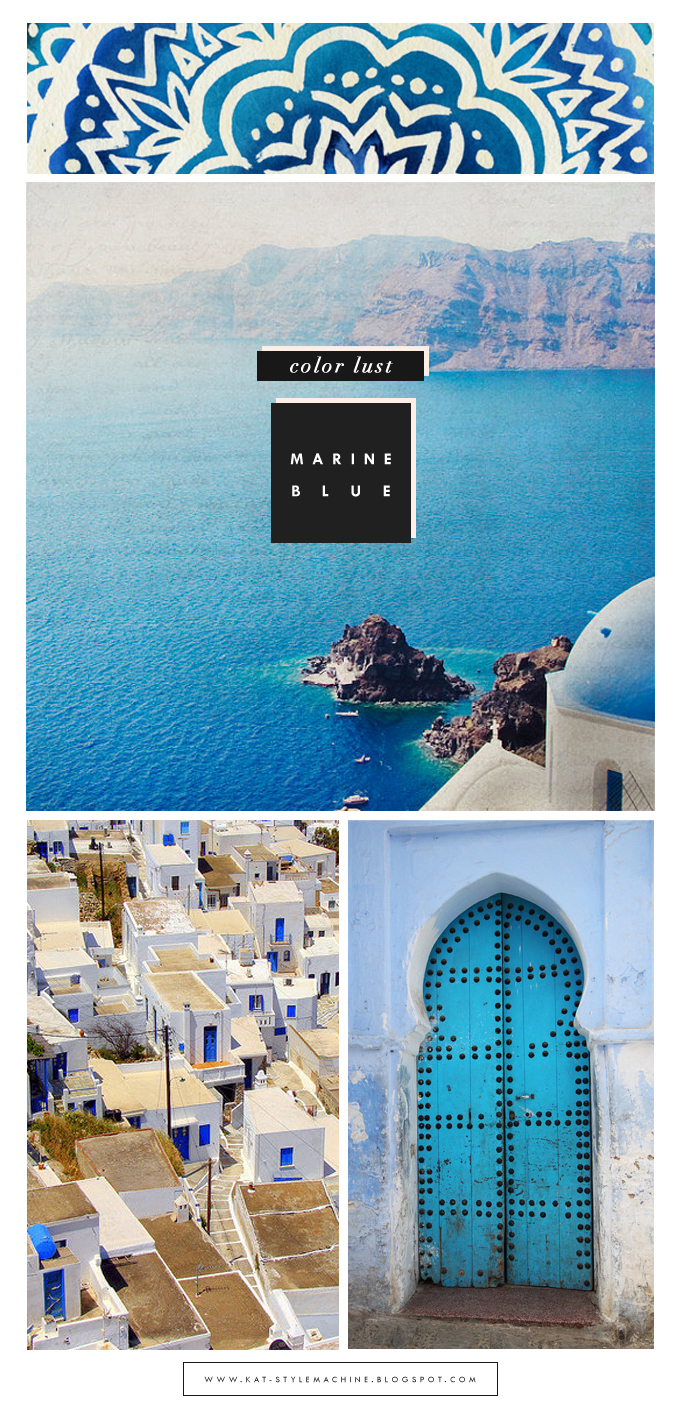 spring color fashion trend, inspired by the Greek isles and mediterranean blue