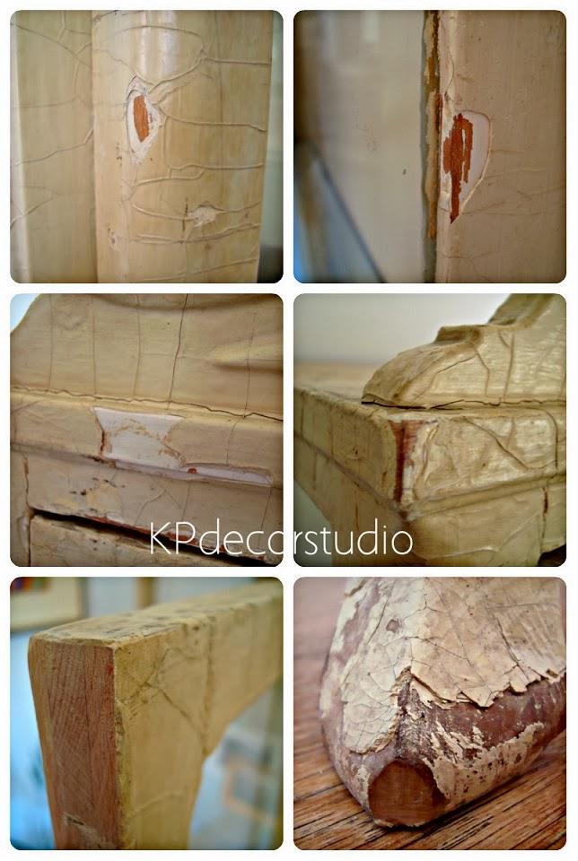 Muebles rústicos con pintura decapada.