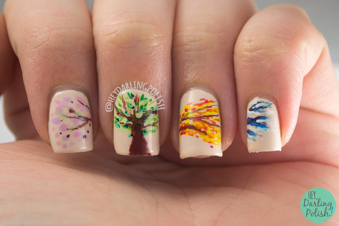 nails, nail art, nail polish, seasons, tree, hey darling polish, theme buffet, free hand,