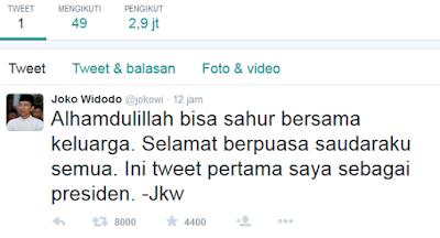 Akun Twitter Baru Presiden Jokowi