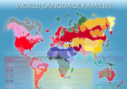 Carte des familles de langues
