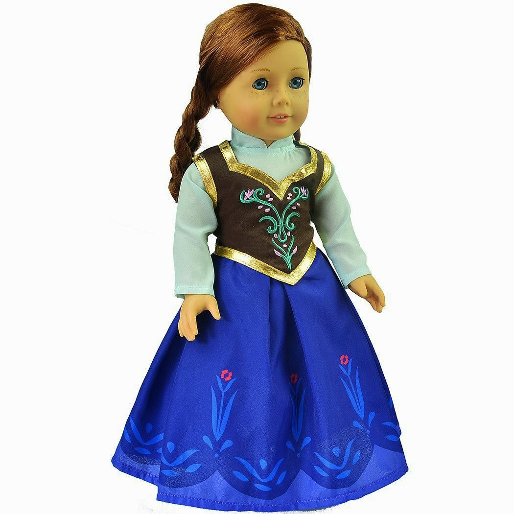 Elsa and Anna Sparkle Princess Dress for 18 inch doll clothes fits American Girl