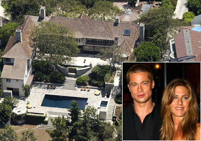 Hollywood celebrity houses brad pitt and jennifer aniston Homes of hollywood stars photos