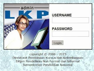 Jendela Login Admin LKP