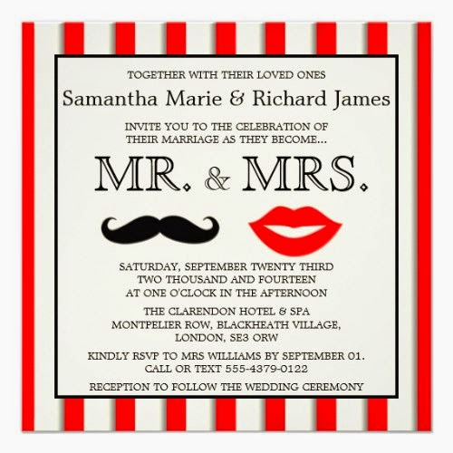 Moustache & Lips (Mr & Mrs) Wedding Invitation