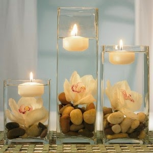 floating candles in vase