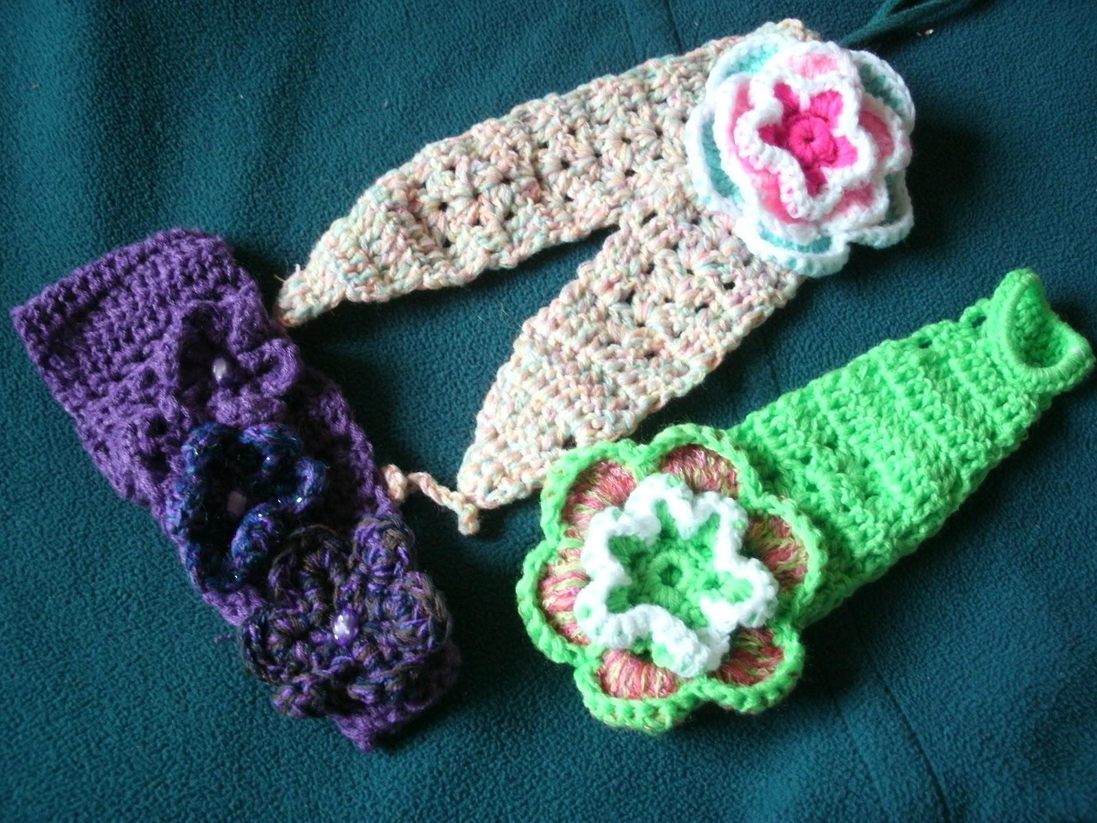 Diademas tejidas a crochet y cintillos,