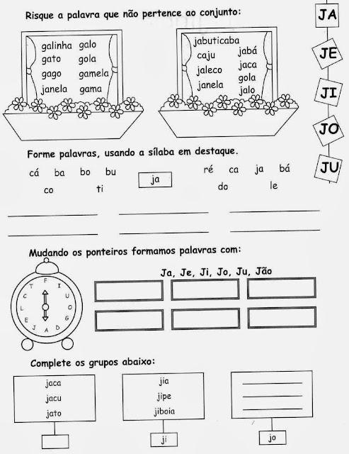 janela,Atividades com a letra J.Ensino Fundamental, Atividades para imprimir, Alfabetização, Letras, 1º ano.