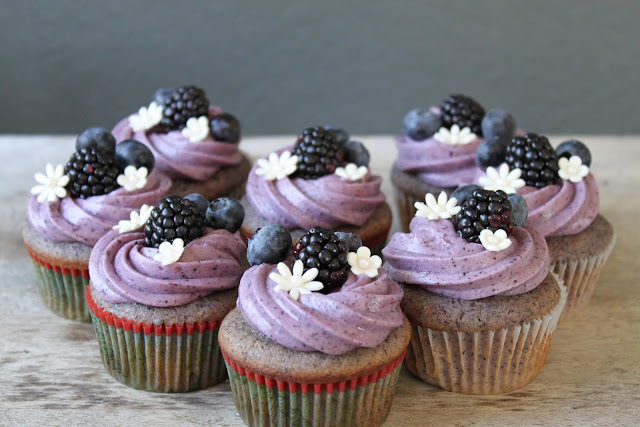 Blueberry Cupcake with Blueberry Cream Cheese Frosting- The Little ...