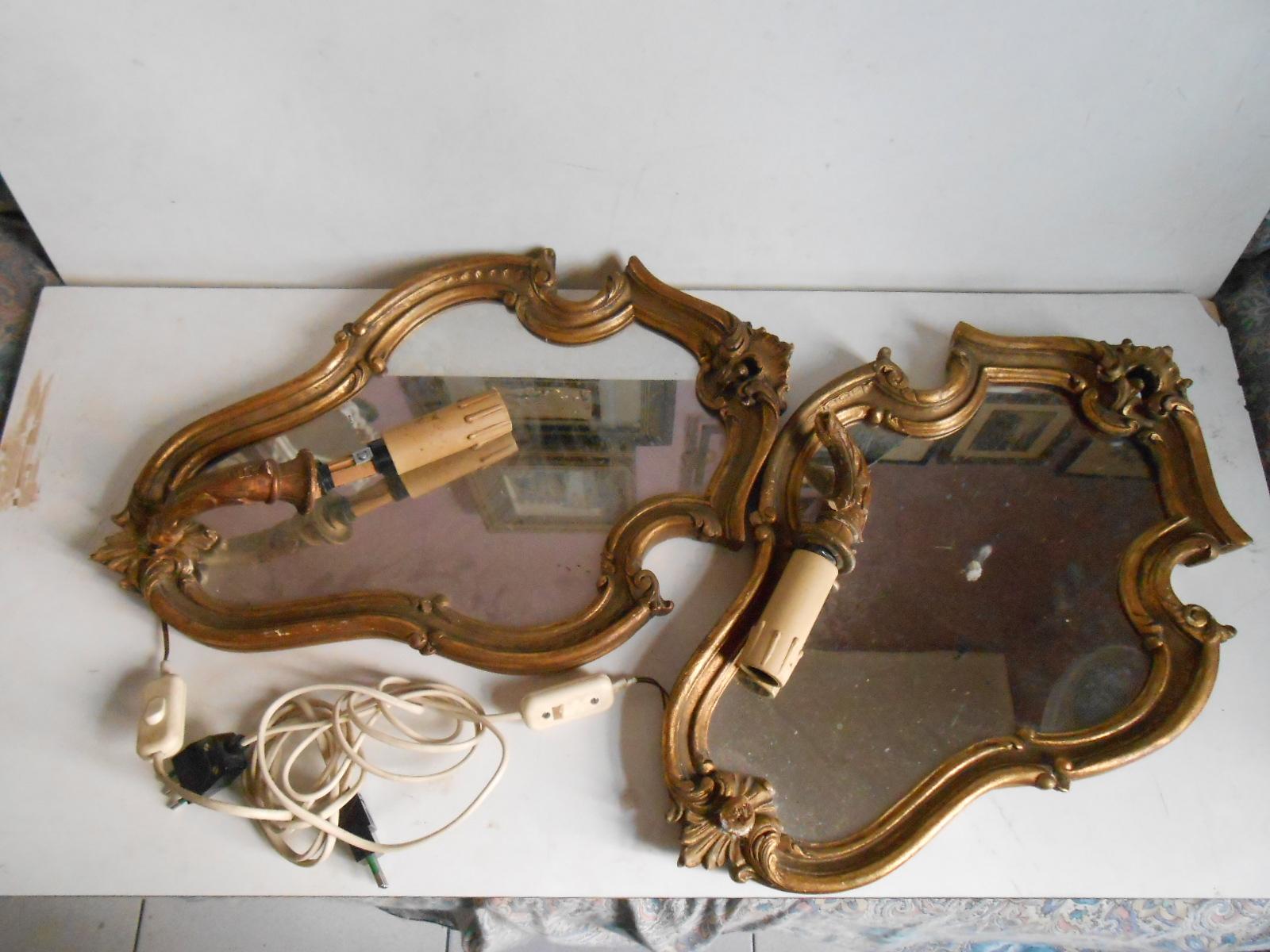 Splendida coppia di specchiere barocco applique punto luce da