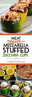 Meat, Tomato, and Mozzarella Stuffed Zucchini Cups [KalynsKitchen.com]
