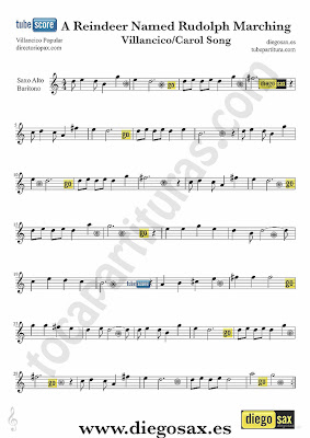 Tubescore A Reindeer named Rudolph sheet music for Alto And Baritone Saxophone Christmas Carol music score
