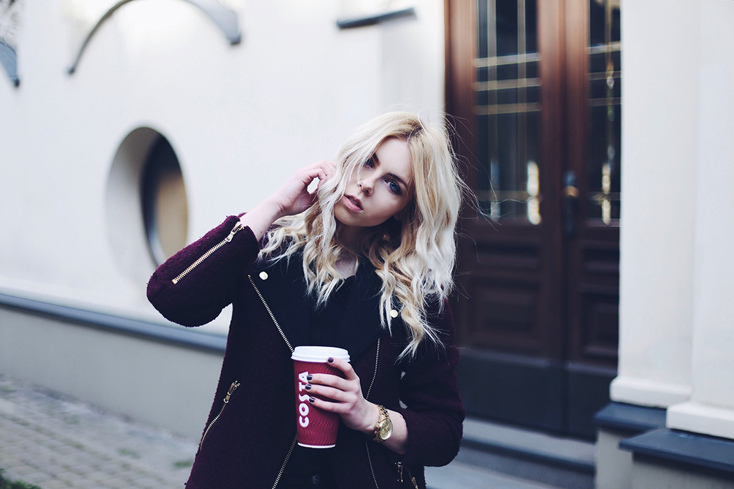 zara burgundy biker coat, mango black structured top, zara trf black denim jeans and michael kors watch outfit