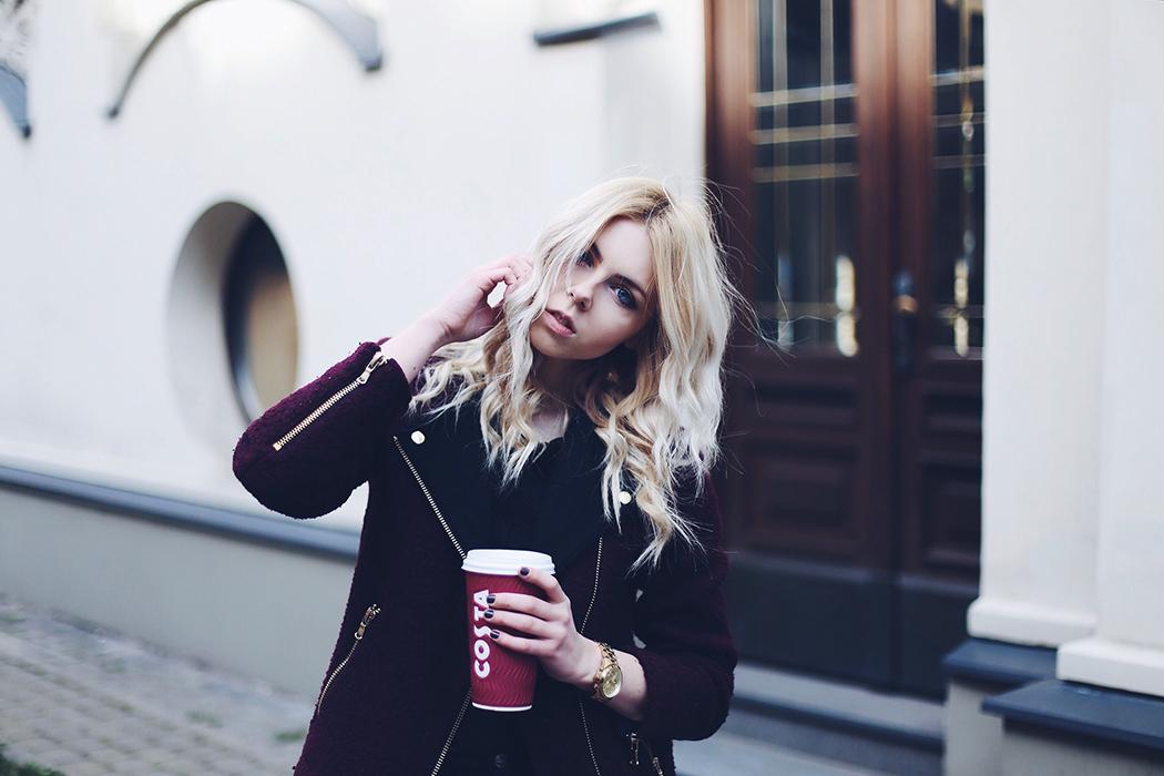 zara burgundy biker coat, mango black structured top, zara trf black denim jeans and michael kors watch outfit