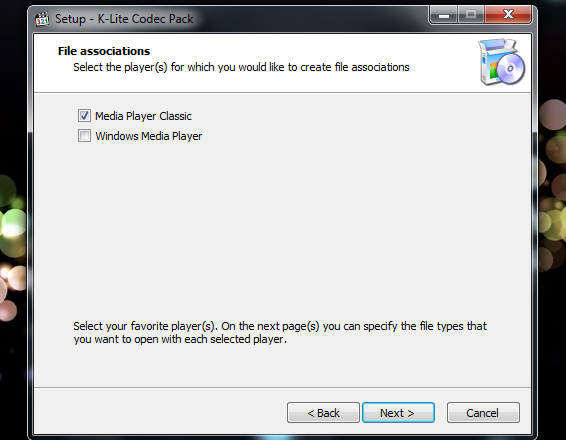 Media Player Classic - File association - K-Lite Codec