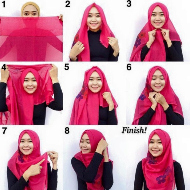 Tutorial hijab pesta simple segi empat modern terbaru 2016 Fashion style hijab terkini