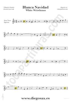 Tubepartitura Blanca Navidad partitura para Violín villancico suave de Navidad