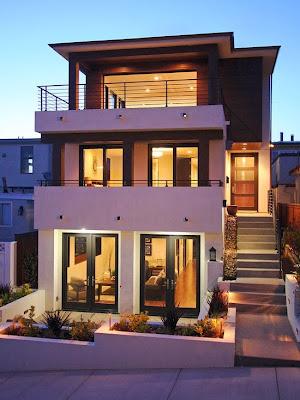 Decoracion actual de moda fachadas de casas modernas for Fachadas de casas modernas de tres pisos