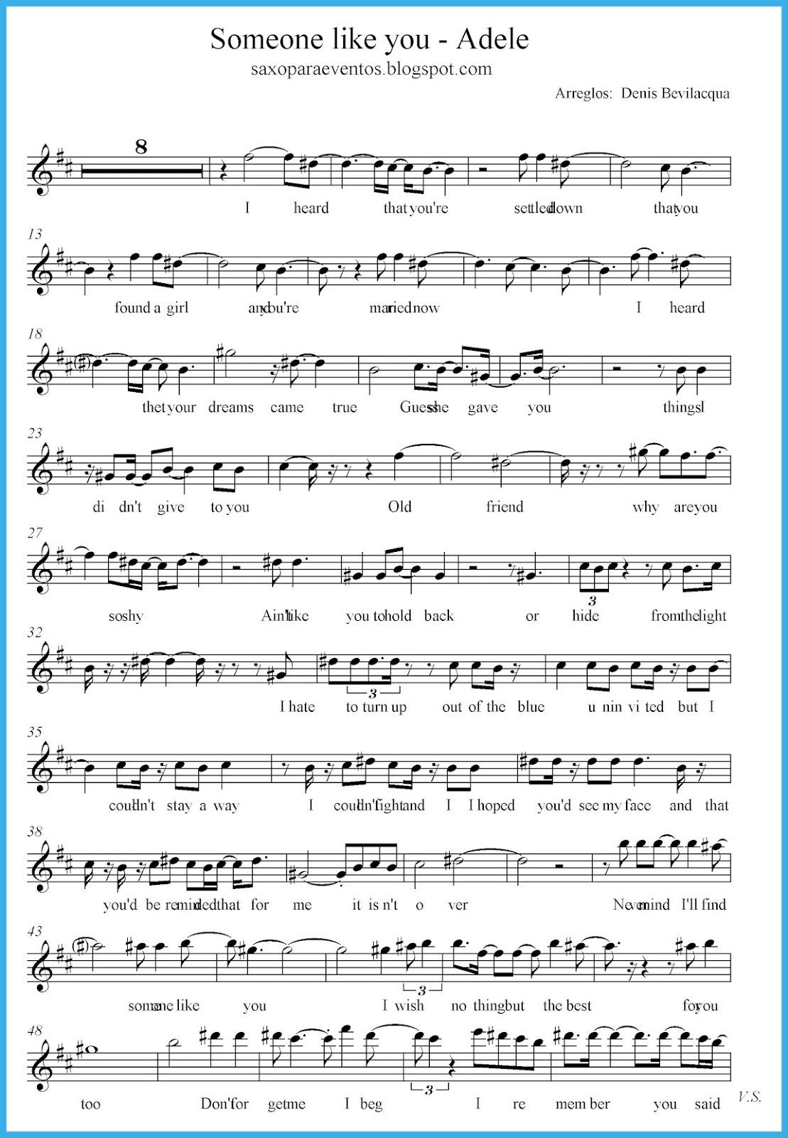 Someone like you - Adele score and track (Sheet music free) | Free ...