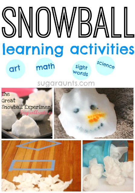 Snowball learning activities for kids this winter. Snowball math, snowball science. snowball art, snowball sight words