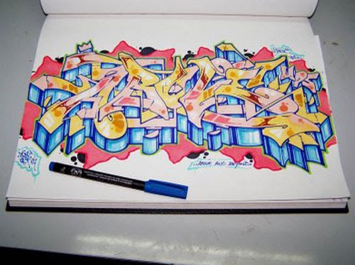 how to draw throw up graffiti. Draw graffiti On Paper 6