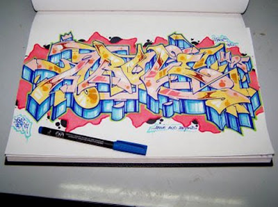 Draw graffiti On Paper, graffiti, graffiti drawing, Draw