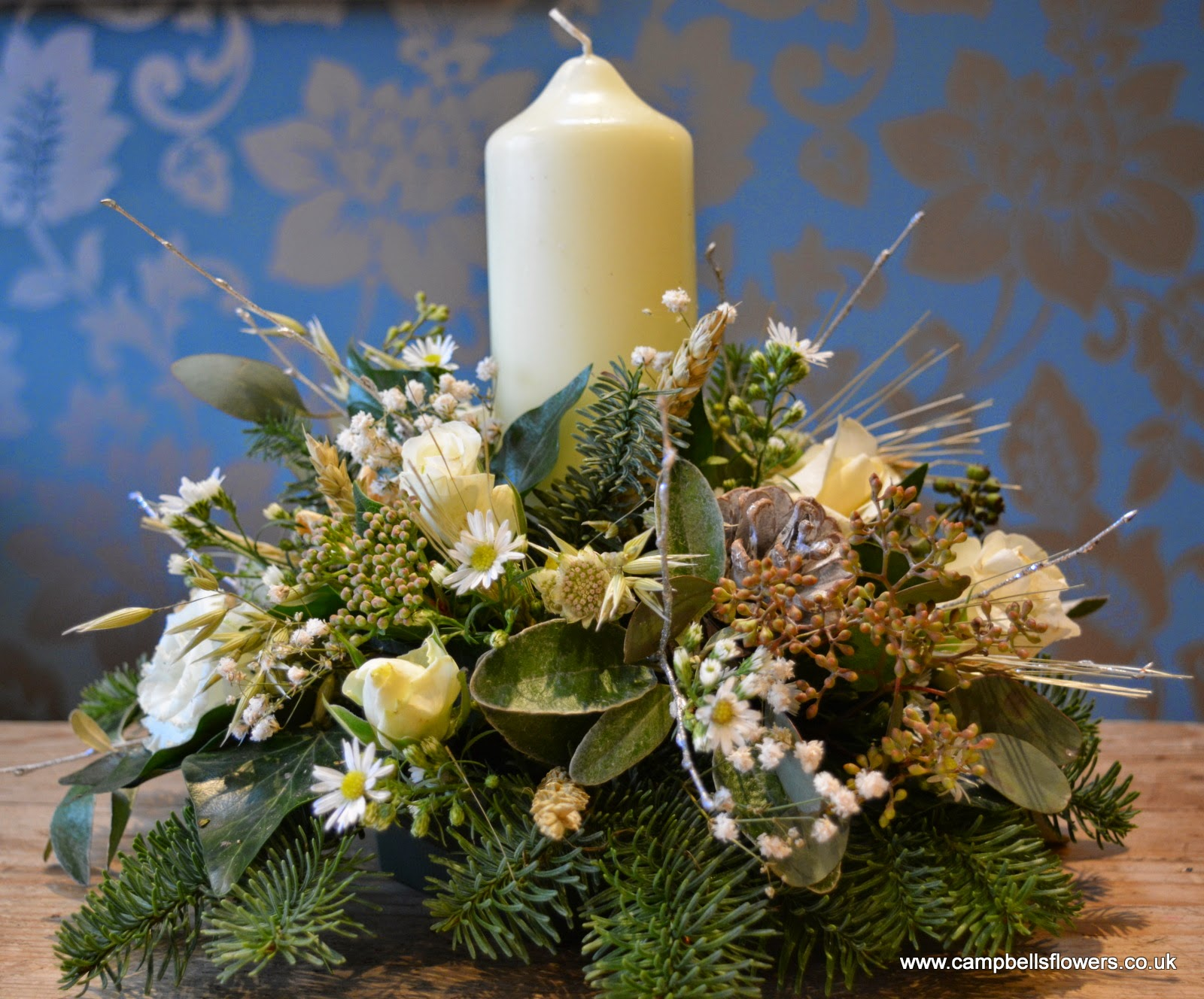 Christmas Centre piece by Sheffield Florist Campbell's Flowers.