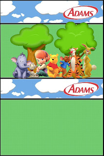 Etiqueta de Winnie de Pooh y sus amigos para chicles Adams.