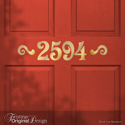 Victorian Style Custom House Number Vinyl Door Decal