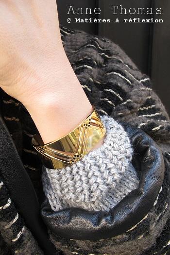 Manchette noir et or Anne Thomas bijoux