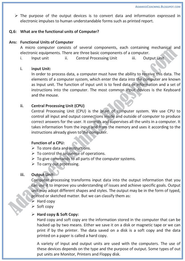 Computer-Components-Descriptive-Question-Answers-Computer-IX