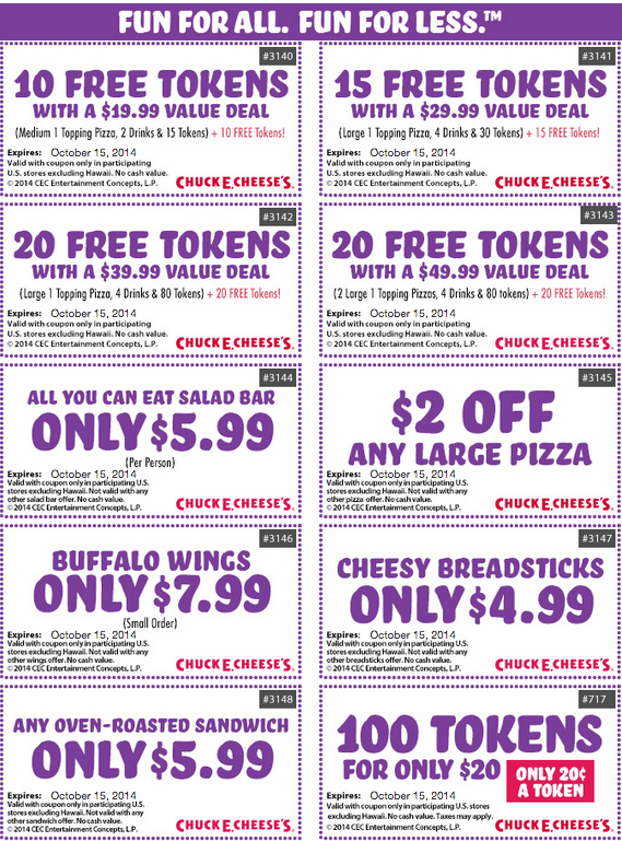 Look for printable coupons on daily deals sites to save the most at Chuck E. Cheese's. Newspaper inserts are also a great source for discounts at this kid-friendly restaurant. Finally, check their website: they often offer discount codes and their