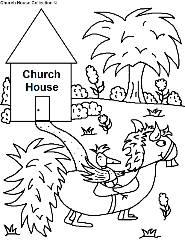 Bird Riding Funny Looking Horse Going To Church House Coloring Page title=