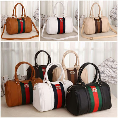 GUCCI BAG - BROWN , WHITE