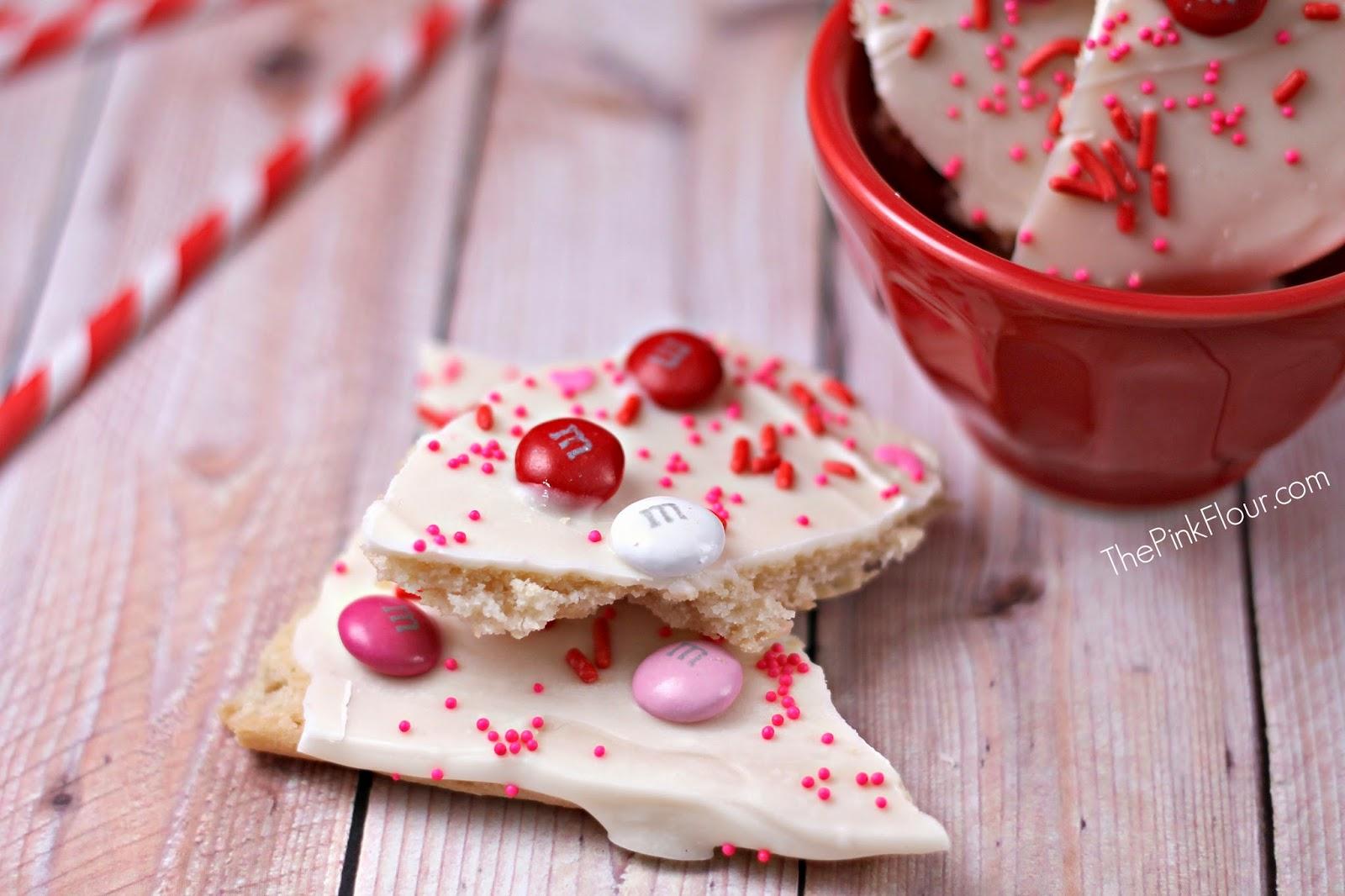Valentine's Day White Chocolate Sugar Cookie Bark from www.thepinkflour.com #pillsbury #chocolate #valentines