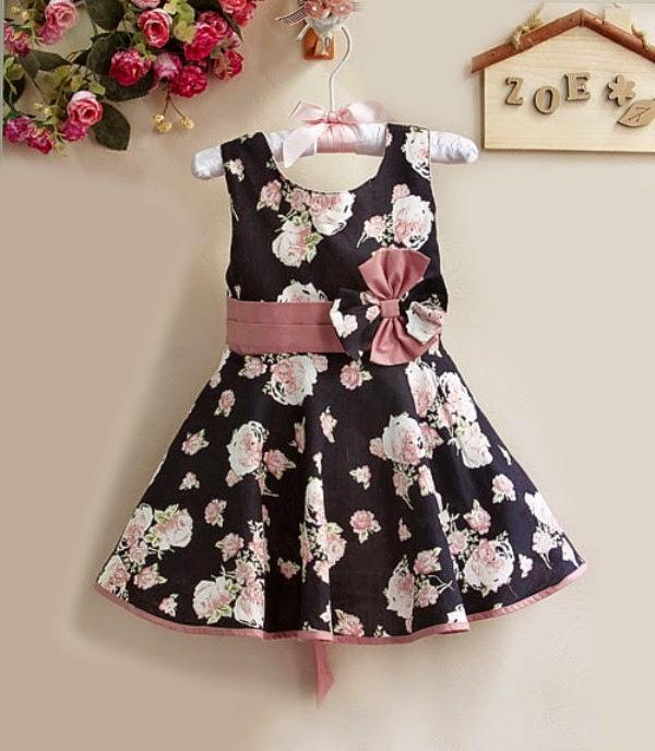 Dress baju anak perempuan branded warna hitam motif bunga